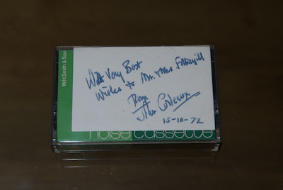Tape reading 'With very best wishes to Mr and Mrs Fothergill from John Cordeaux 15-10-72