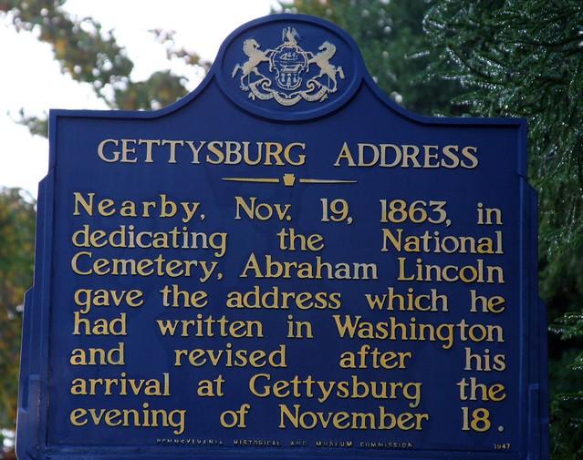 Historical marker to Lincoln's Gettysburg Address, by Frank Kovalchek