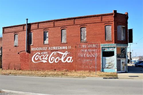 kansas wall advertisement cocacola soda softdrink repainted montgomerycounty cherryvalekansas us169