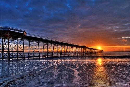 blue sea summer sky colour beach water clouds sunrise reflections coast pier seaside sand nikon purple vivid d200 reflexions hdr cloudscape isleofman manx colorphotoaward ramseyqueenspier ripplessun grouptripod
