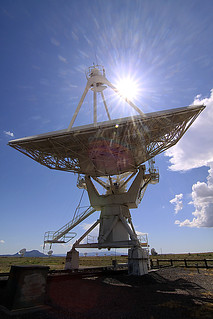 radio telescope with sunburst