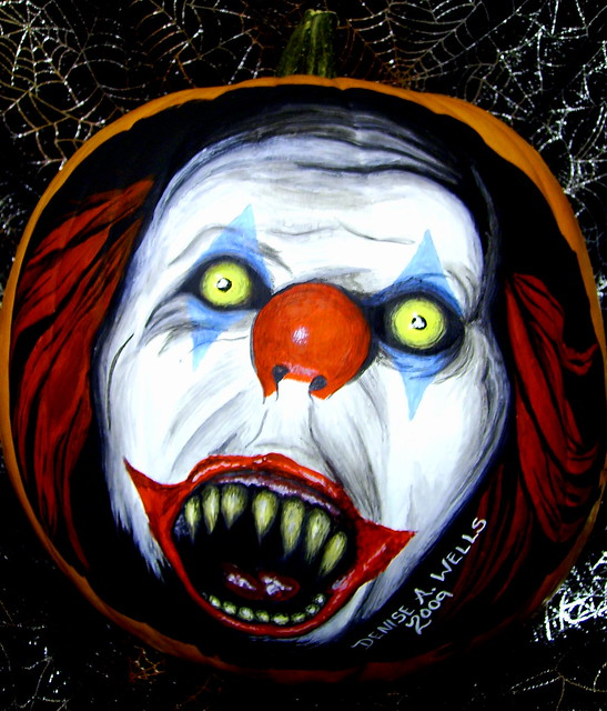 pennywise pumpkin painting by denise a wells flickr