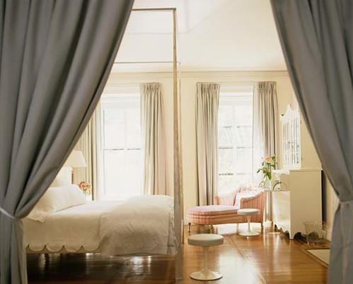 Lovely white bedroom: White paint + white furniture + hardwood floors, by Tom Scheerer