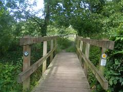over the footbridge