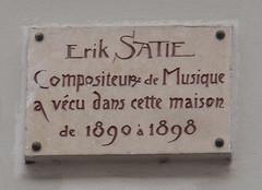 Photo of Erik Satie white plaque