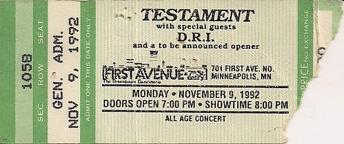 11/09/92 Testament/D.R.I. @ Minneapolis, MN (Ticket)