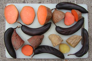 baked yams, sweet potatoes & bananas