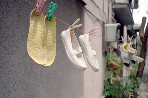 Washing indoor shoes
