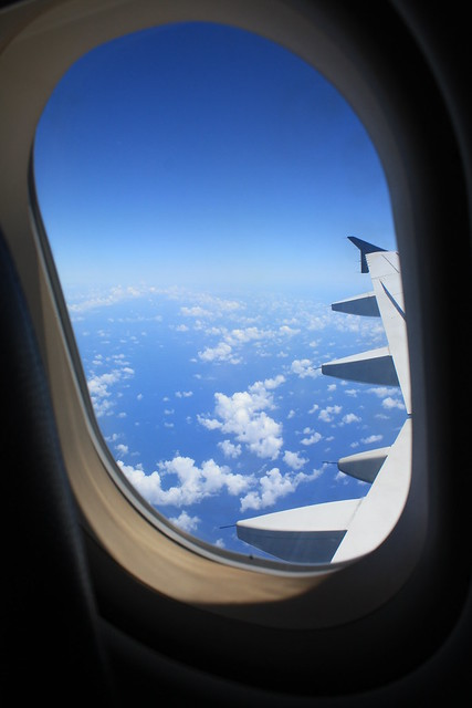 Looking out the window of the plane, somewhere over South ...