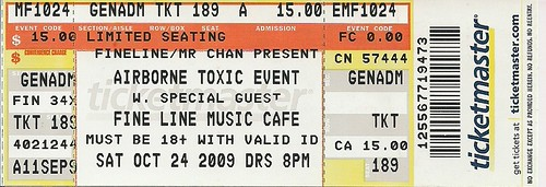 10/24/09 Airborne Toxic Event @ Minneapolis, MN (Ticket)