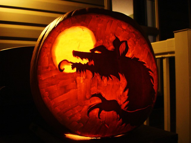 Werewolf pumpkin 2 for Extreme pumpkin carving templates