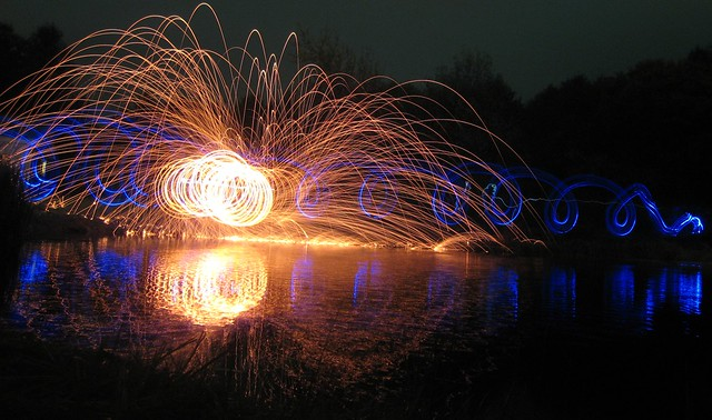 Peruvian 100-Legged Glow Spider stalking the Blue Corkscrew Worm - Wire Wool & Light by the Pond 8