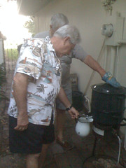 Pop pop basting the clams
