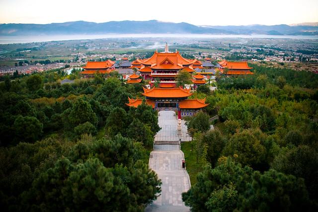 Vistas del Parque de las Tres Pagodas, Dali, Provincia de Yunnan, China.