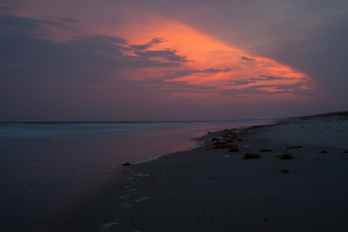 ocean longexposure sunset seascape reflection beach water clouds landscape lights pier nc sand waves tripod northcarolina atlantic gitzo oakisland caswellbeach canonef24105mmf4lisusm moosesfilter arcatech gt2531