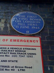 Photo of flying bomb (V1/V2) blue plaque
