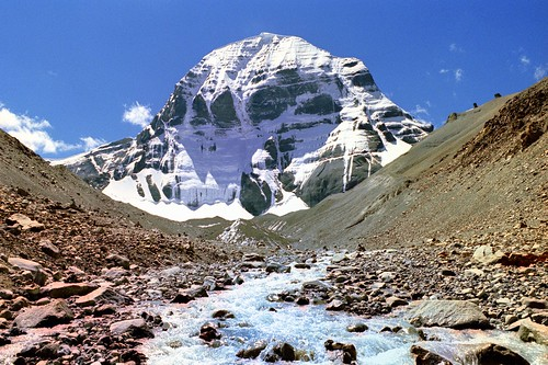 "Tibet:Mount Kailash,Gangs Rin-po-che, meaning ""precious jewel of snows"" གངས་རིན་པོ་ཆེ། 6638m"