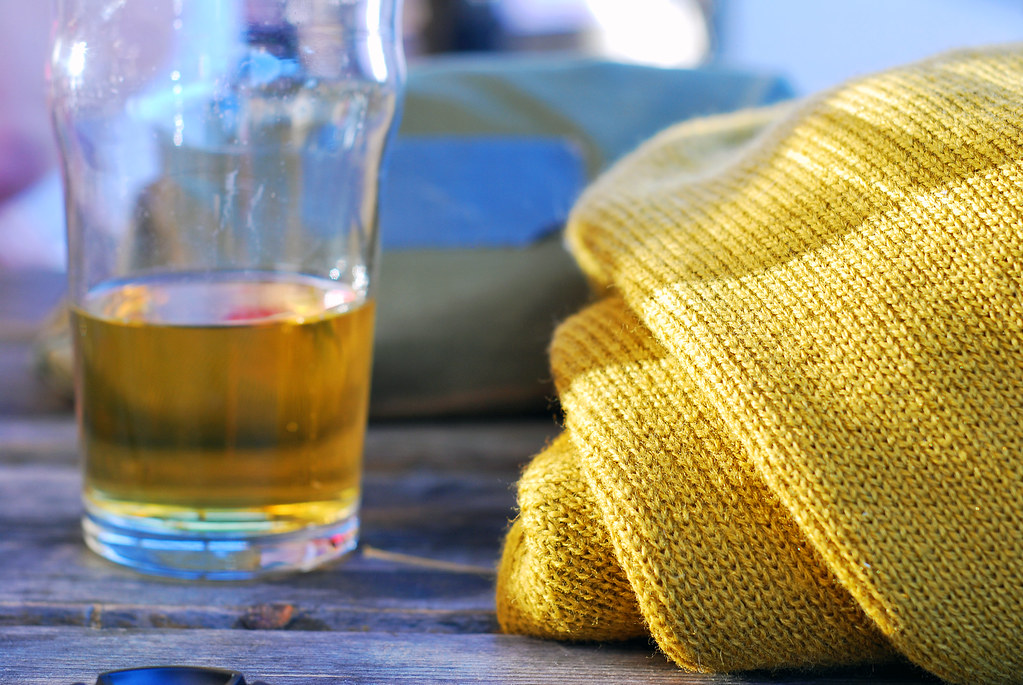beer and a sweater