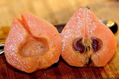 poached quince, sliced in half    MG 8400