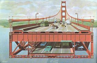 Double-deck Golden Gate Bridge: cross section (1968)