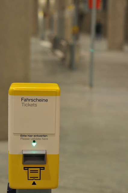 Ticket validator in Germany on the Berlin S-Bahn (commuter rail)