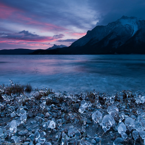 ca winter sunset lake canada motion mountains ice nature sunrise landscape alberta wilderness tranquil abrahamlake iceformations mountmichener davidthompsonhwy