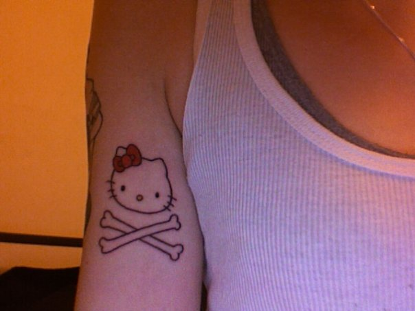 My Hello Kitty Skull and Crossbones Tattoo