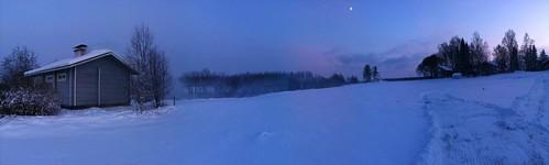 christmas winter snow finland pano sauna iphone reisjärvi