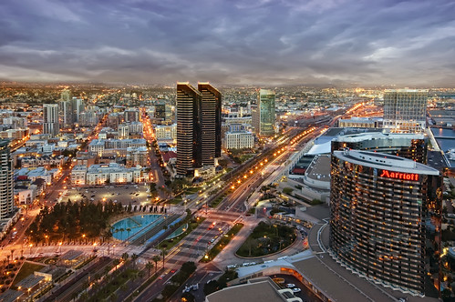 city sky streets night clouds marriott lights hotel downtown cityscape view sandiego aerialview hyatt impressedbeauty