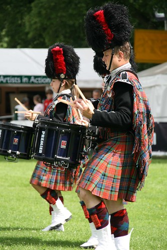 Scottish Pipe Band Drummers by Hilary Gaunt