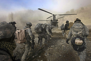 "Western casualties are mounting in Afghanistan. A helicopter was downed by the Afghan resistance forces on July 14, 2009. The official US response was that the helicopter carried ""civilian contractors."" by Pan-African News Wire File Photos"