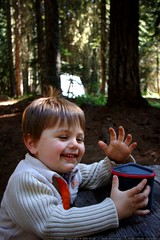 sequoia enjoys hot chocolate for his first camping b…
