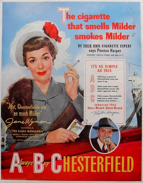 1950 JANE WYMAN Chesterfield Woman Lady Cigarettes Vintage Advertisement Smoking