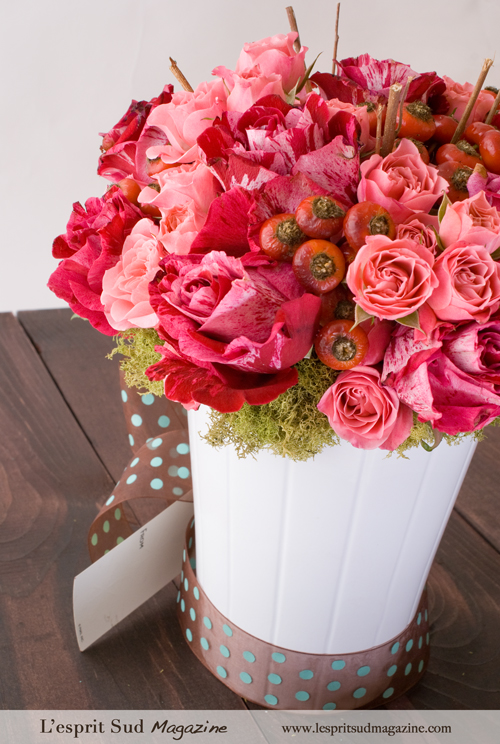 Pretty pink rose arrangement for the holidays