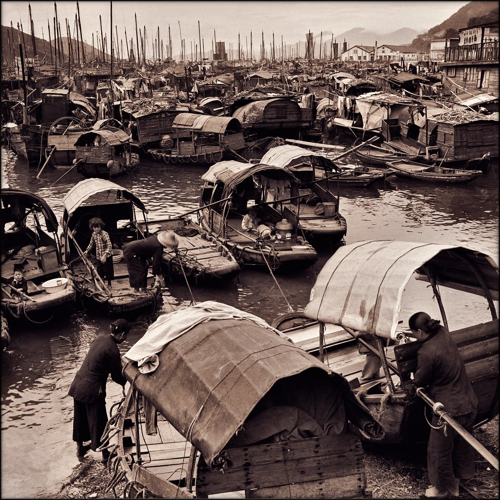 Fisher Families With Junks In Aberdeen Harbor, Hong Kong Island [c1946] Hedda Morrison [RESTORED]