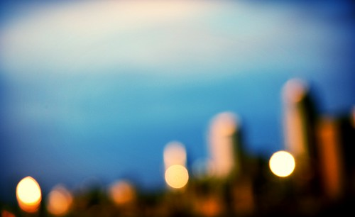 Gleaming city on the hill, as seen at sunset, blur, Seattle, Washington, USA by Wonderlane