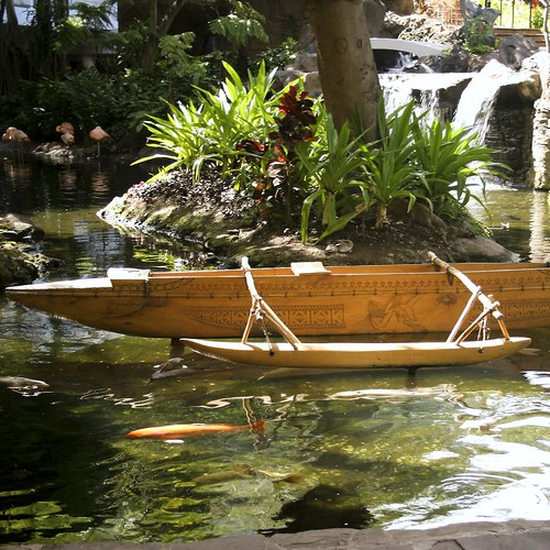 A replica canoe on display at the Westin Maui Resort.