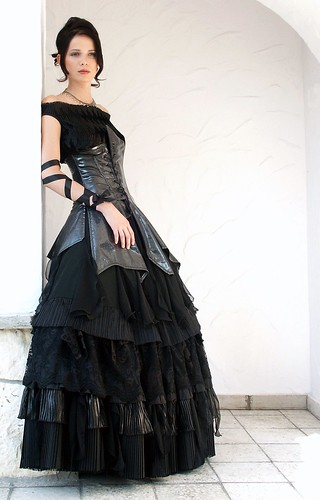 Bella P, black wedding dress