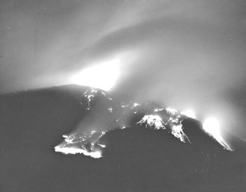 Mt. Vesuvius at night, eruption of 1944