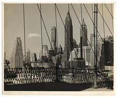 The Financial District from the Brooklyn Bridge, Sometime Before 1960 (New York City)