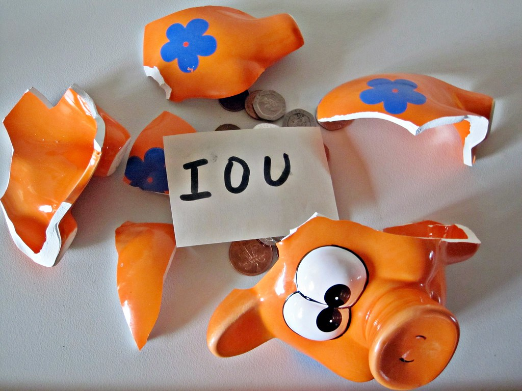 IOU in a piggy bank