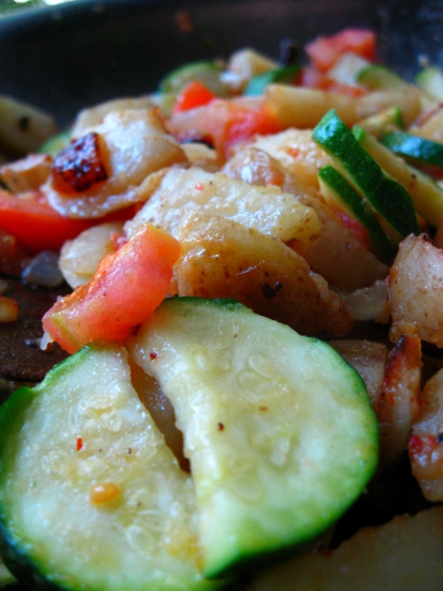 Home Fries with Zucchini and Tomatoes
