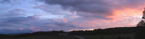 road pink trees sunset sky panorama grass clouds barn vermont montpelier
