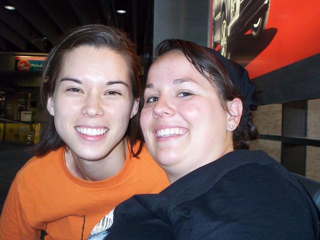 anna and sylvia at the airport