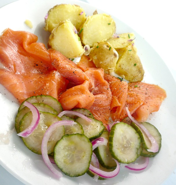 Smoked Salmon with Pickled Cucumber and Red Onion Salad, H ...
