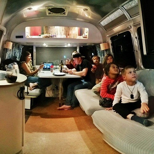 A party in our #airstream at the end of a 3-week caravan with the Works. Wine, cheese and bread for the grownups and Croods on TV for the kids. We are parting ways with our #airstreamfriends once again after another amazing time spent together. Since last