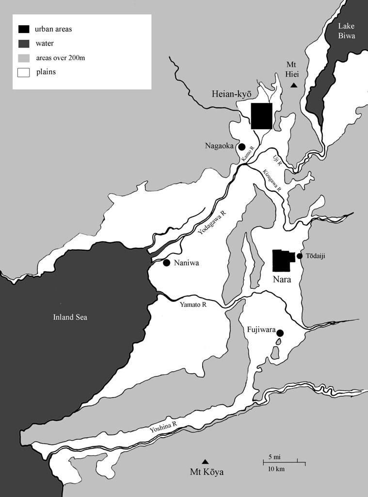 Heian Japan Map My Map Of The Main Cities Of Heian Era Jap
