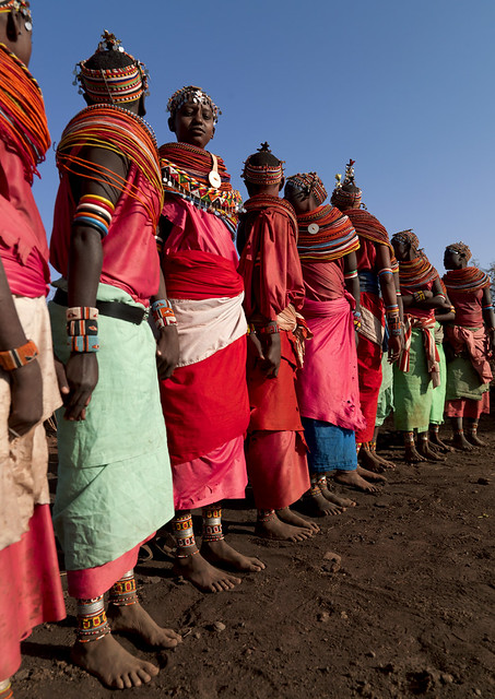 Rendille women with beaded headresses and necklaces - Kenya
