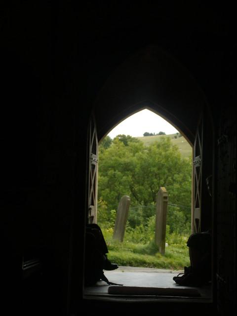 Walkers in the doorway