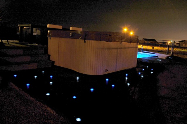 skyfuel solar lights around hot tub flickr photo sharing